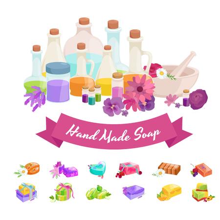 handmade soap: Natural Handmade Soap and Olives vector illustration set