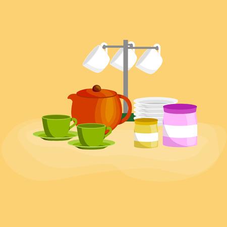 주방 아이콘 벡터 집합입니다. 만화 주방기구 컬렉션, 숟가락, 냄비 요리 나이프 포크 컵 팬 주걱 국자 접시 접시 그릇 소 쿠리 털 강판. 스틸 주방 가구 식기, 조리기구 도구