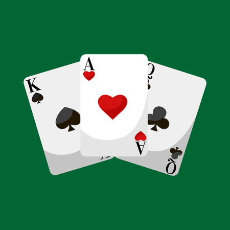 cards deck: Playing Poker Cards Vector illustration, win gambling casino icon, risk and play poker, isolated cards deck on green background Illustration