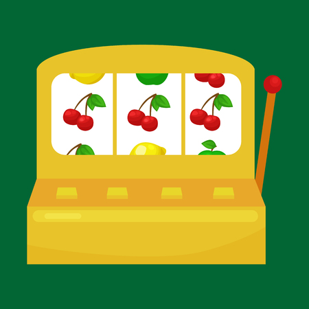 slot in: Slot machine with three sevens isolated on green background.Win gambling casino icon, risk and play in slot machine, isolated vector illustration