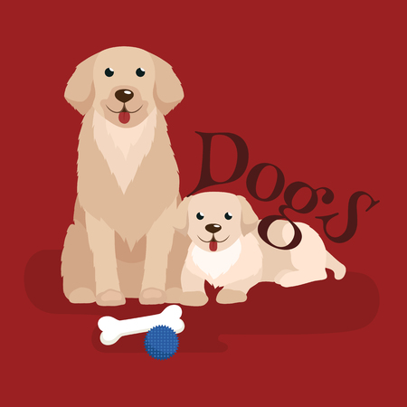 unhappy family: cute small puppy and dog,adorable pets background, domestic animal with pedigree vector illustration pictograms