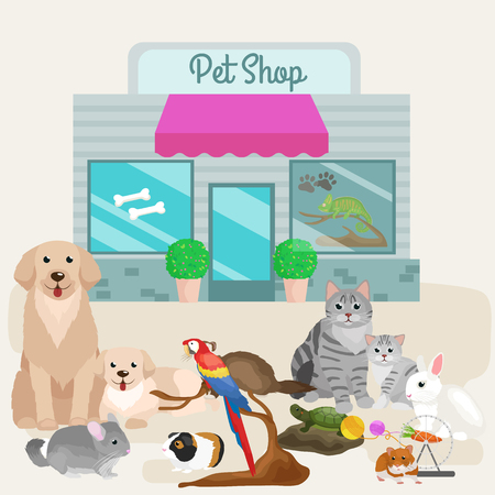vet: Pet shop. Pets accessories and vet store vector illustration