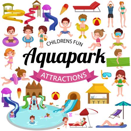 Waterpark aquapark speeltuin met glijbanen en splash pads voor familie plezier vector illustratie. Zomer aquapark waterpark en gelukkig kind aquapark. fun jeugd aquapark waterpark Amusement swim