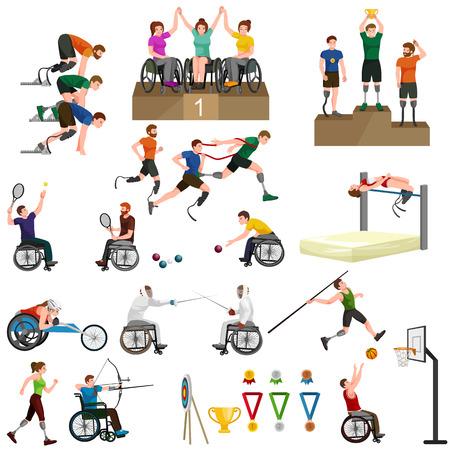 Disable Handicap Sport Games Stick Figure Volledig Icons vector Stock Illustratie