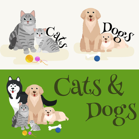 purebred: Cat and dog together lying vector illustration pictograms