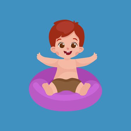 costume de bain: garçon en maillot de bain isolé, enfants été pictogrammes vacances vecteur d'illustration Illustration