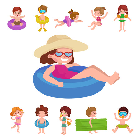 swimming cap: Summer vacation. Cute little girl in a bathing suit sunning on the beach under an umbrella. Swim in the sea. Funny boy in mask, flippers, swimming cap, Lifebuoy. Building a sand castle. Hawaiian dance