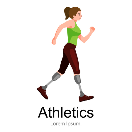 amputee: rio 2016, brazilian game for handicapped, disability sport, athlete with prosthesis vector illustration