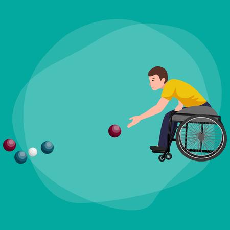 paraplegico: Disabled Athlete On Wheelchair Play Boccia Sport Competition Vector Illustration