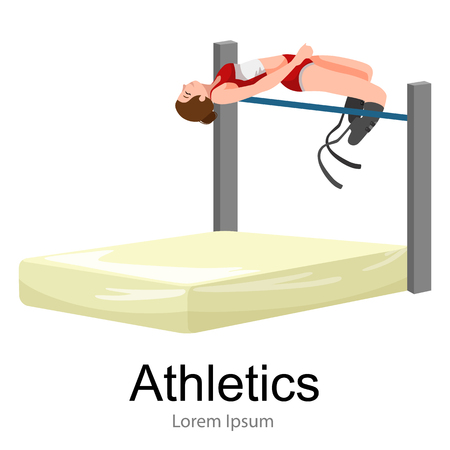 handicapped: rio 2016, brazilian game for handicapped, disability sport, athlete with prosthesis vector illustration