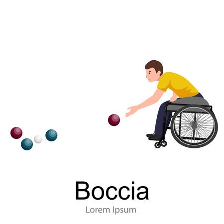 paraplegic: Atleta discapacitado en silla de ruedas Juego Boccia Deporte Competencia ilustraci�n vectorial