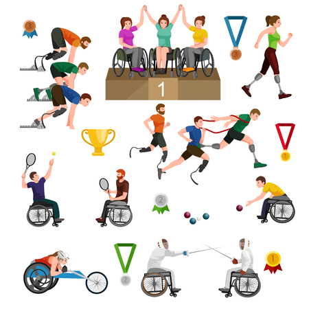 physical activity: sport for people with prosthesis, physical activity and competition for invalid, disabled athletic game isolated concept vector illustration