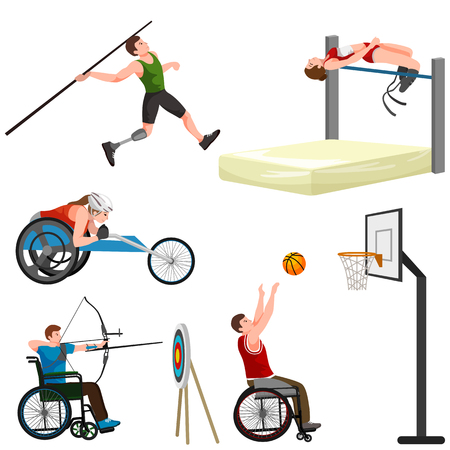 amputation: sport for people with prosthesis, physical activity and competition for invalid, disabled athletic game isolated concept vector illustration