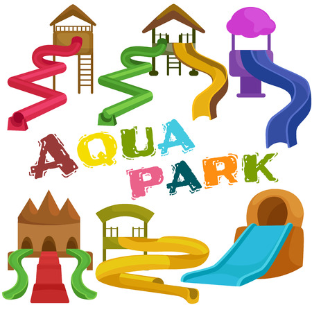 water park: Plastic slides for water park on a white background vector illustration pictograms