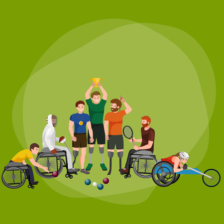 disabled athlete with prosthesis isolated concept, sport for people with prosthesis, physical activity and competition for invalid vector illustration Illustration