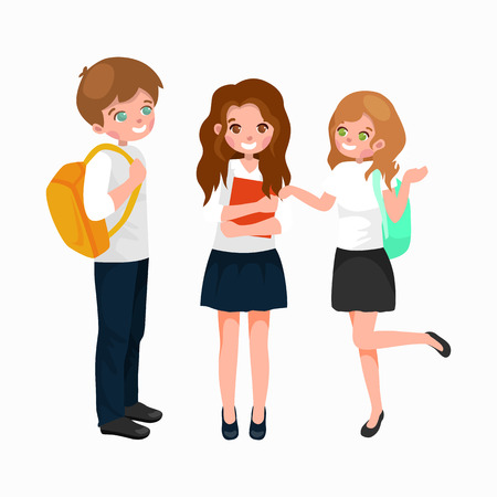 school backpack: little girl and boy with school backpack and books, back to school concept vector illustration Illustration
