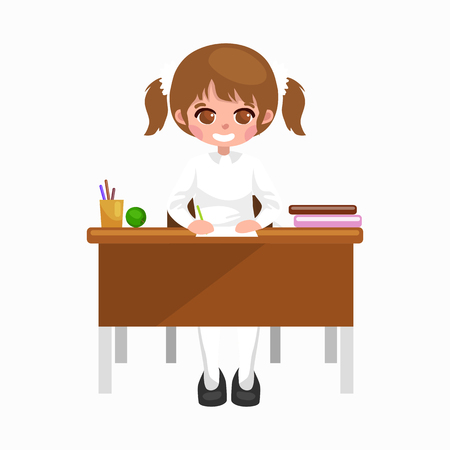 little girl sitting: little girl sitting at the table with notebooks and books, learning back to school concept vector Illustration