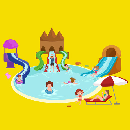 water slide: Waterpark aquapark playground with slides and splash pads for family fun vector illustration. Summer aquapark waterpark and happy child aquapark. Amusement swim fun childhood aquapark waterpark