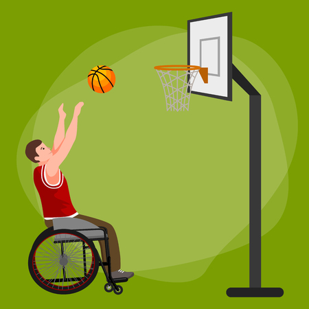 amputee: Disabled people On Wheelchair Play basketball for handicapped, disability sport vector illustration