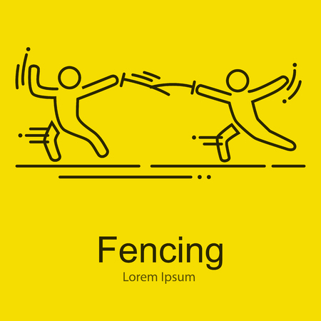 are thrust: Fencing athletes isolated vector illustration,outline thin icons