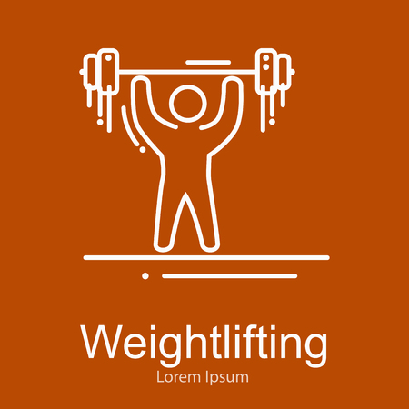 snatch: Weightlifting icon, sportsman with barbell strong athlete vector illustration
