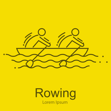stamina: Canoe Rowing Team Icon Set.Canoe Sporting Competition Race vector illustration
