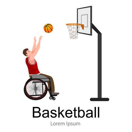 artificial leg: Disabled people On Wheelchair Play basketball for handicapped, disability sport vector illustration