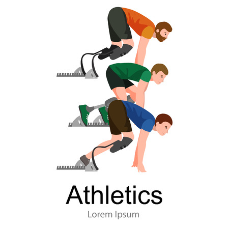 amputation: Explosive start of athlete with handicap at the stadium vector illustration
