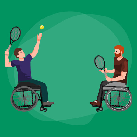 Disabled Athlete On Wheelchair Play Tennis Sport Competition Vector Illustration Illustration