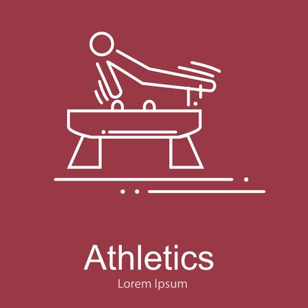 pommel: Gymnastics athlete at Pommel Horse doing exercise,sport competition vector illustration