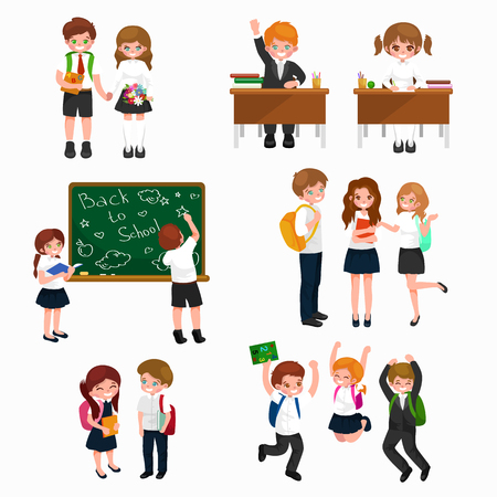schoolkids: happy children fun activities at school like painting,studying,learning, jumping.Back to school vector background,children back to school and learning with books, student writing at school blackboard Illustration