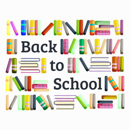 vactor: Books in public library, back to school and education concept in card or banner vactor illustration Illustration