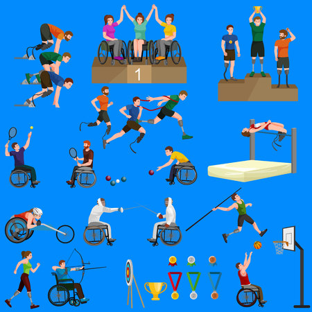 amputee: Disable Handicap Sport Games Stick Figure Pictogram Icons vector