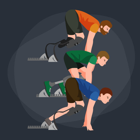 amputee: Explosive start of athlete with handicap at the stadium vector illustration