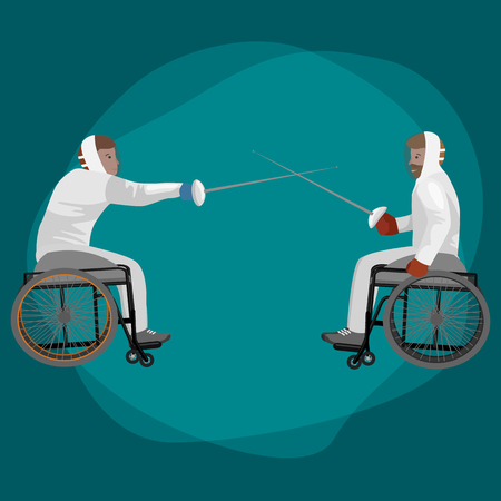 duelling: Physically disabled athletes fencing in a wheelchair. Handicapped sportsmen with rapiers. Vector flat illustration on isolated background. Concept for summer paralympic games, recovery, swordplay. Illustration