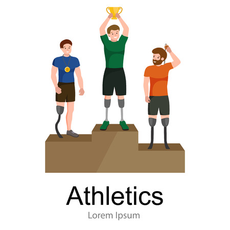 amputee: disabled athlete with prosthesis isolated concept, sport for people with prosthesis, physical activity and competition for invalid vector illustration Illustration