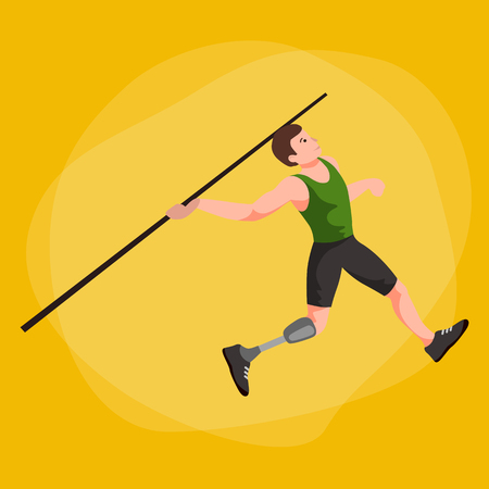 invalidity: disabled athlete with prosthesis isolated concept, sport for people with prosthesis, physical activity and competition for invalid vector illustration Illustration