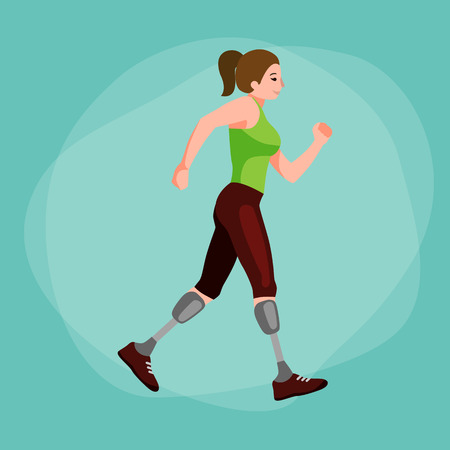 prosthesis: disabled athlete with prosthesis isolated concept, sport for people with prosthesis, physical activity and competition for invalid vector illustration Illustration