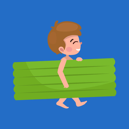 boy in swimsuit isolated, kids summer vacation vector illustration pictograms Illustration