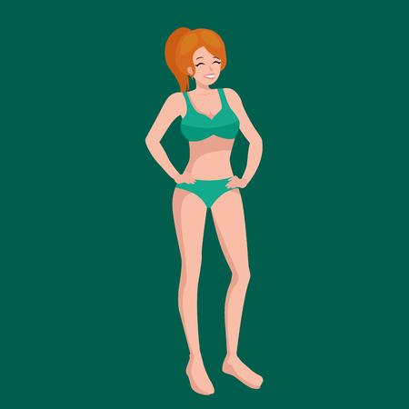 costume de bain: fille en maillot de bain isolé, enfants été pictogrammes vacances vecteur d'illustration