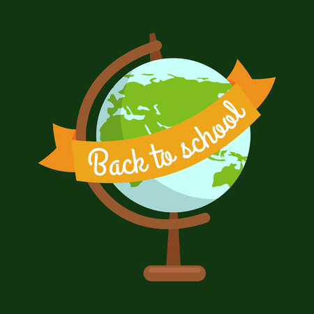 School globe vector illustration, back to school concept for banner or card.