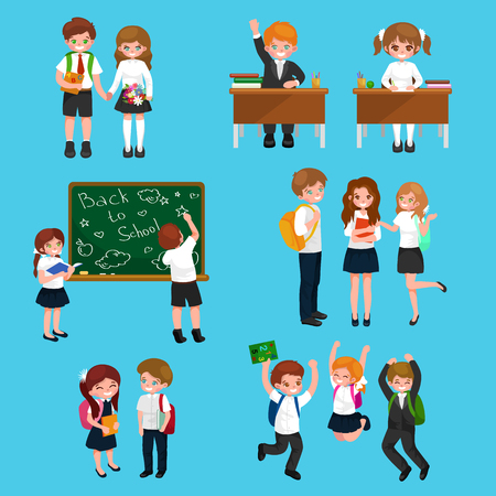 learning by doing: vector illustration of happy children doing different fun activities at school like painting, studying,learning and jumping