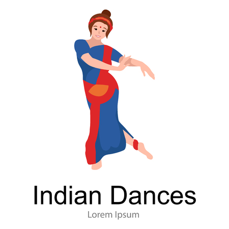 indian classical dance: Vector illustration of woman performing Kathak classical dance of Northern India. Indian traditional dancer girl, Vector illustration of young dancing lady in sari