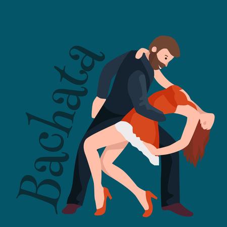 Paar dansen Kizomba in heldere kostuums. Vector illustratie van de partners dansen bachata, gelukkig volkeren man en vrouw stijldansen poster, Bachata, Roomba salsa danser concept voor de poster, banner of flyer