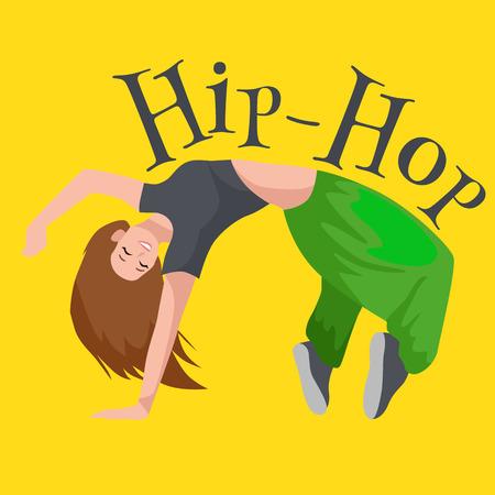 Teenager girl dancing hip hop style isolated vector illustration. Young dancer break dance motion, sexy women modern dancing, break pose balance, funky female dancer vector illustration