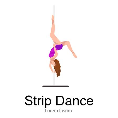 Female Pole dancer, woman dancing on pylon, sexy strip girl dancer, yong stripper, sport dance, isolated white background pretty woman body, beautiful slim girl long hair vector illustration Illustration