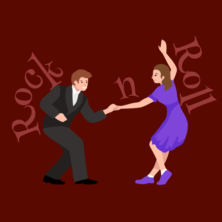 rockabilly: Young couple dancing lindy hop or swing in a formation, man and woman Rock and Roll dancing, vector illustration, isolated, people girl and boy have fun party