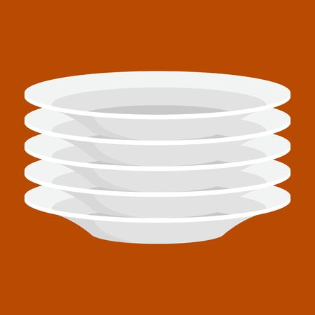 Empty white ceramic plate in stack, isolated clean kitchenware illustrtion. Plate for dinner Illustration