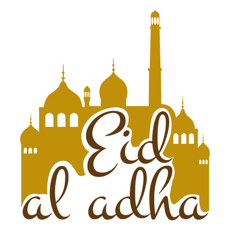 holiday illustration of handwritten Eid Al Adha shiny label. lettering composition of muslim holy month with mosque building, sparkles and glitters Illustration