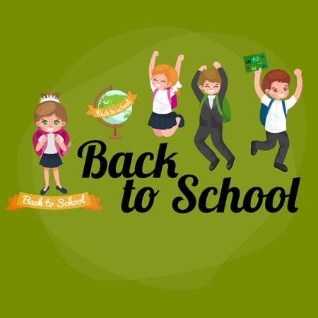 school classroom: back to school and children education concept vector background vector illustration Illustration